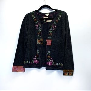 J Jill Limited Edition Embroidery Gray Cardigan